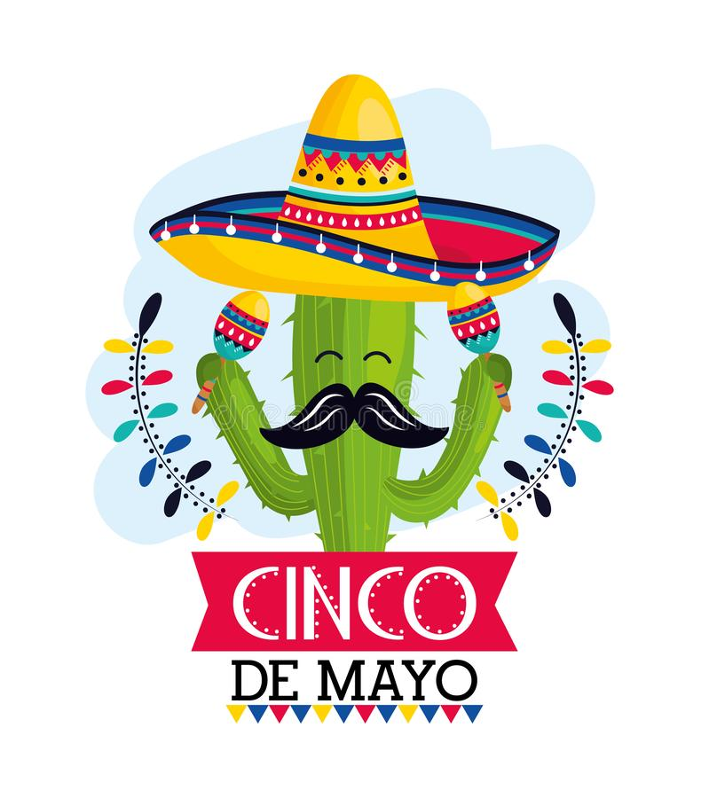 Cactus plant with hat and maracas to mexican event. Vector illustration royalty free illustration