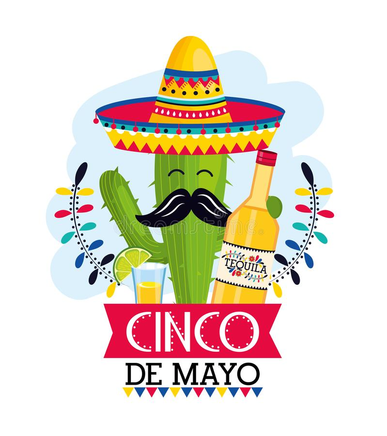 Cactus plant with hat and tequila to mexican event. Vector illustration vector illustration