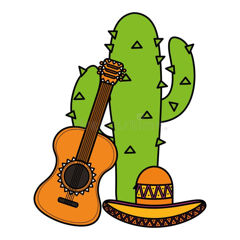 Cactus plant with mexican hat and guitar. Vector illustration design vector illustration