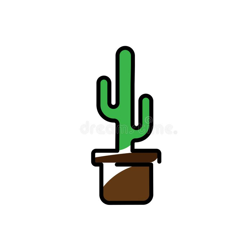 Cactus Plant In A Pot Icon . Line Art Vector Illustration . Flat Style Design vector illustration
