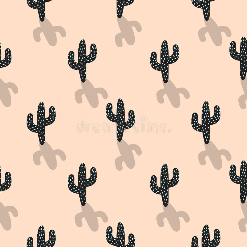 Free Cactus Plant Vector Seamless Pattern. Abstract Cartoon Blush Color Desert Fabric Print. Stock Image - 89646431