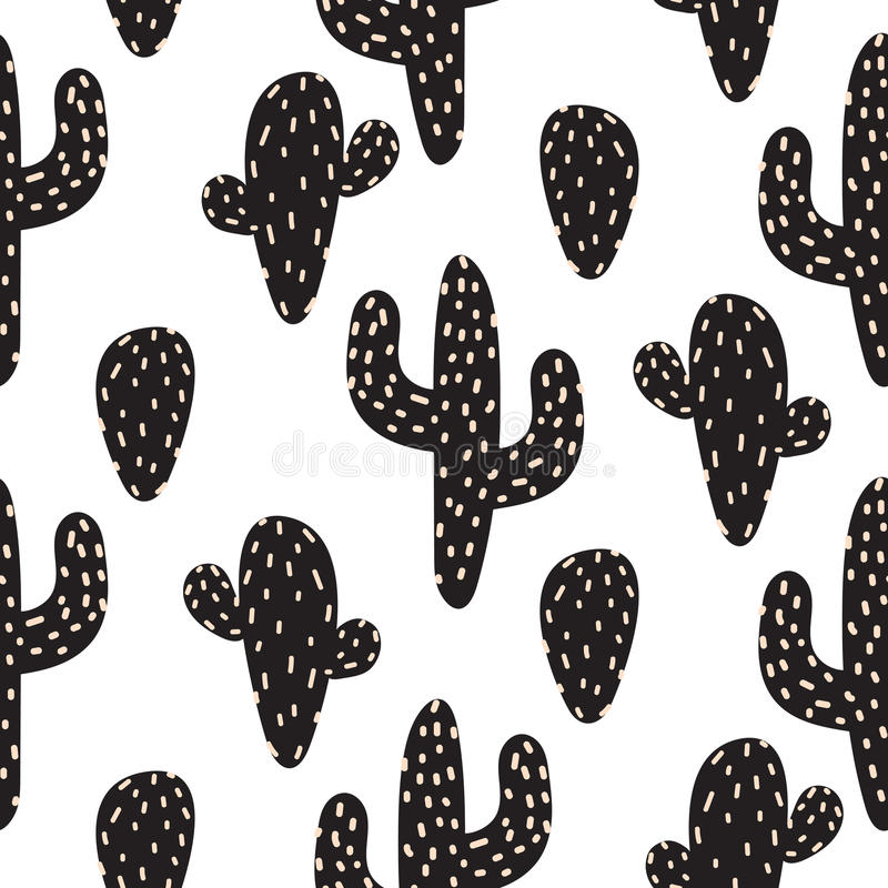 Cactus plant vector seamless pattern. Abstract cartoon desert fabric print. stock illustration