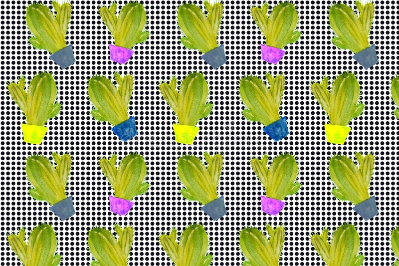 Cactus, planta verde, ejemplo de la acuarela, dibujo de la mano, modelo botánico de la pintura libre illustration