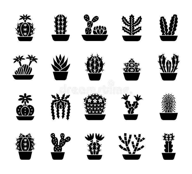 Cactus Plantas de desierto para los terrarios y los jardines de piedras F negra stock de ilustración