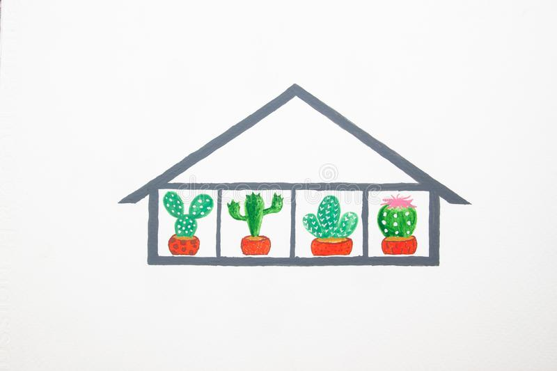 Cactus plants in glass house, watercolour painting on paper stock illustration