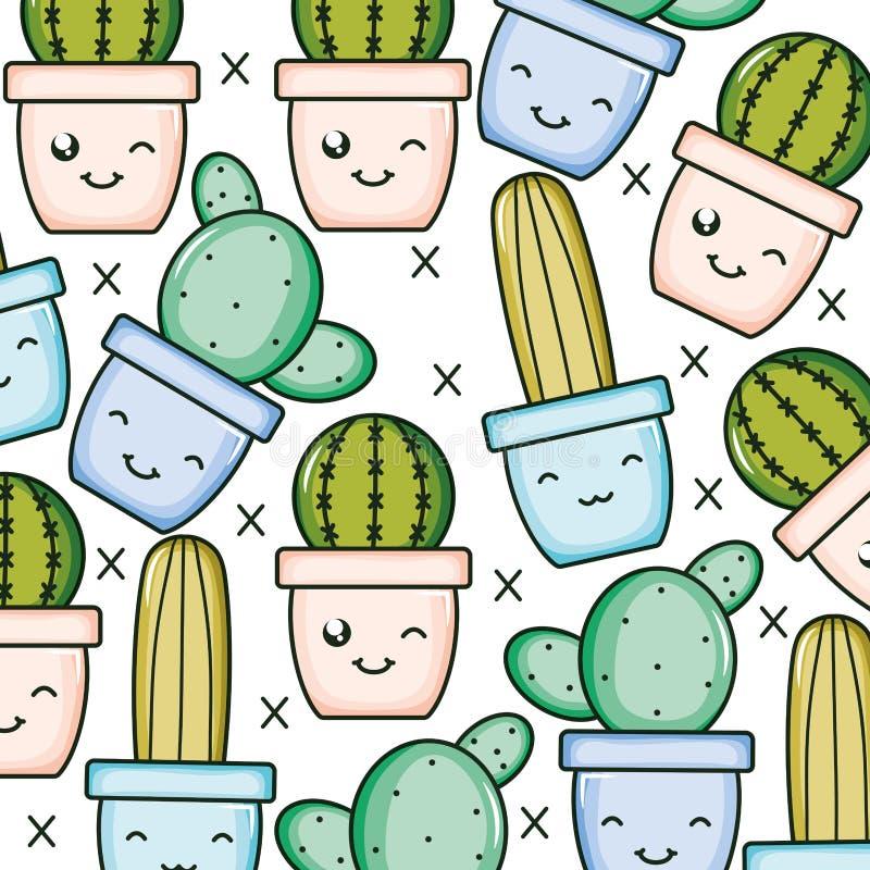 Cactus plants in pots kawaii characters pattern vector illustration