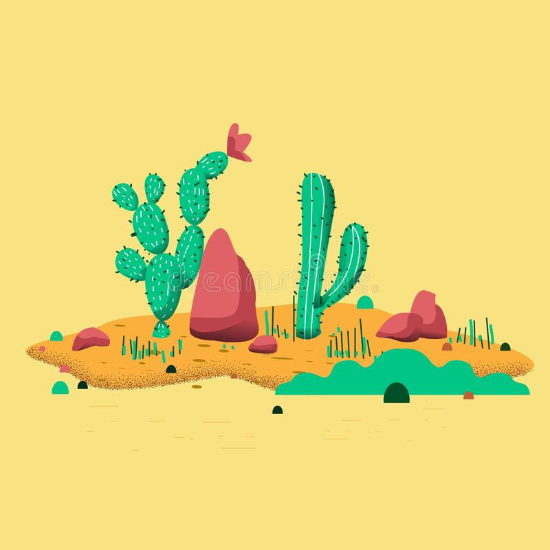 Cactus plants set of desert among sand and rocks. Realistic vector illustration isolated on white background.  royalty free illustration