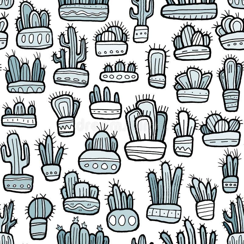 Cactus plats drôles tirés par la main dans le modèle sans couture de pots décoratifs images stock