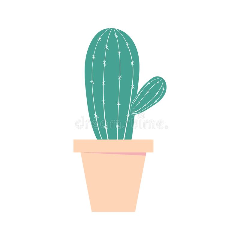 Cactus pot. Home cute plant. Isolated color illustration. royalty free illustration