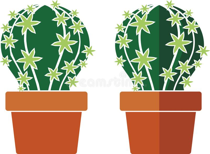 Cactus in a pot stock illustration