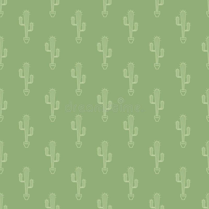Cactus in pottenpatroon vector illustratie