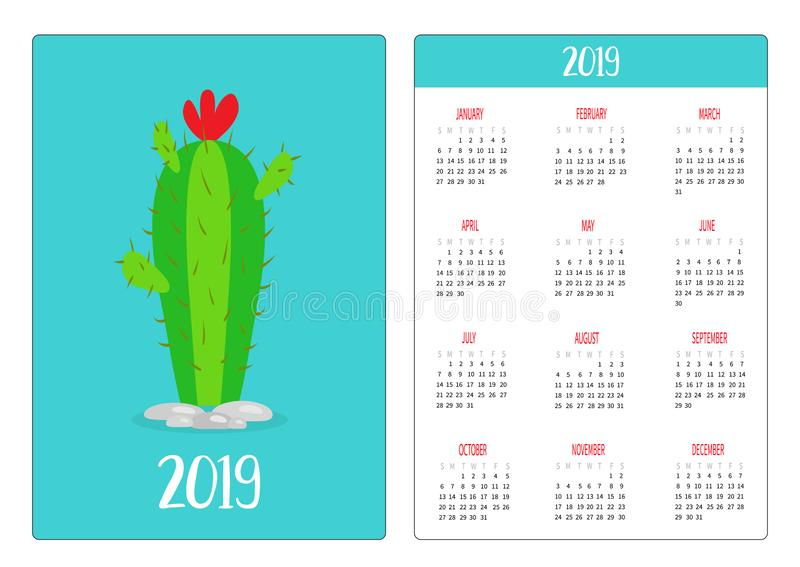 Cactus with red flower. Green plant. Simple pocket calendar layout 2019 new year. Week starts Sunday. Vertical orientation. Flat royalty free illustration