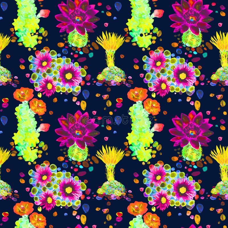 Cactus with red and yellow flowers, colorful stones, seamless pattern design in bright neon colors, dark blue background vector illustration