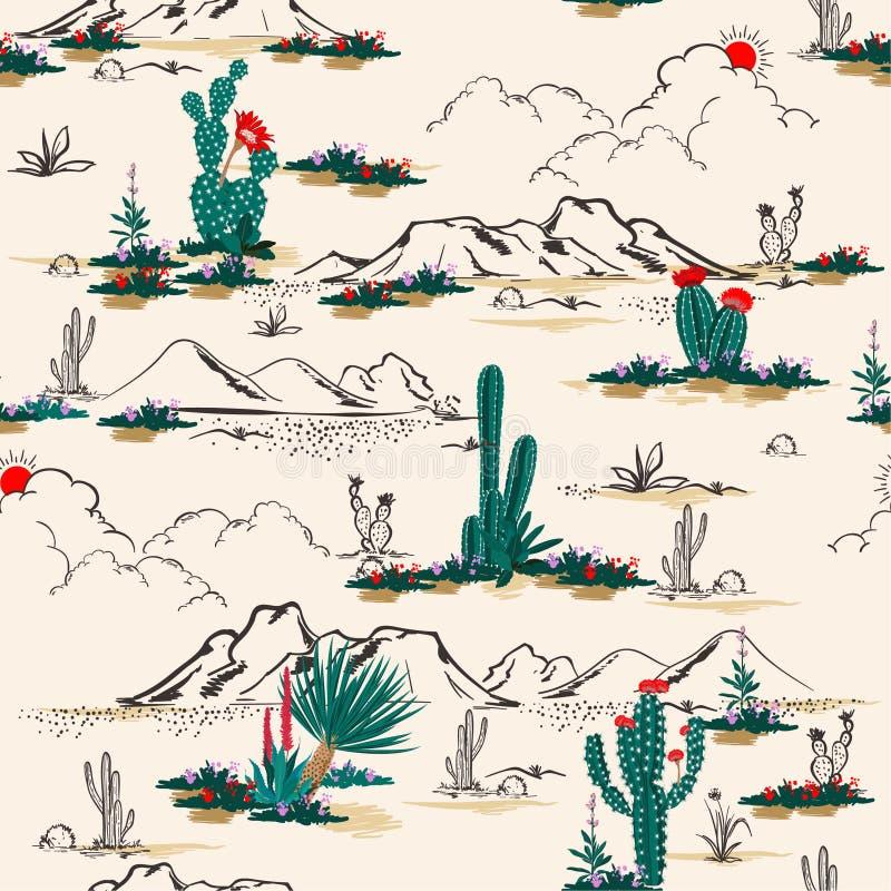 Cactus sans couture d'été de vecteur de modèle sur le mélange de désert avec le beautif illustration libre de droits