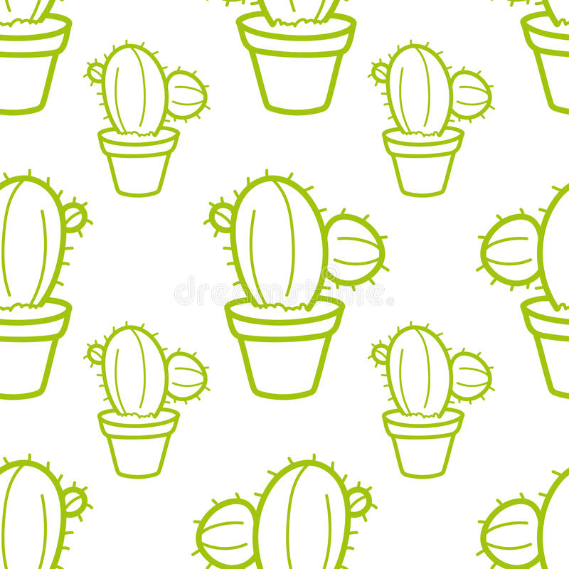 Cactus Seamless pattern with cacti Hand-drawn background Vector illustration stock photos