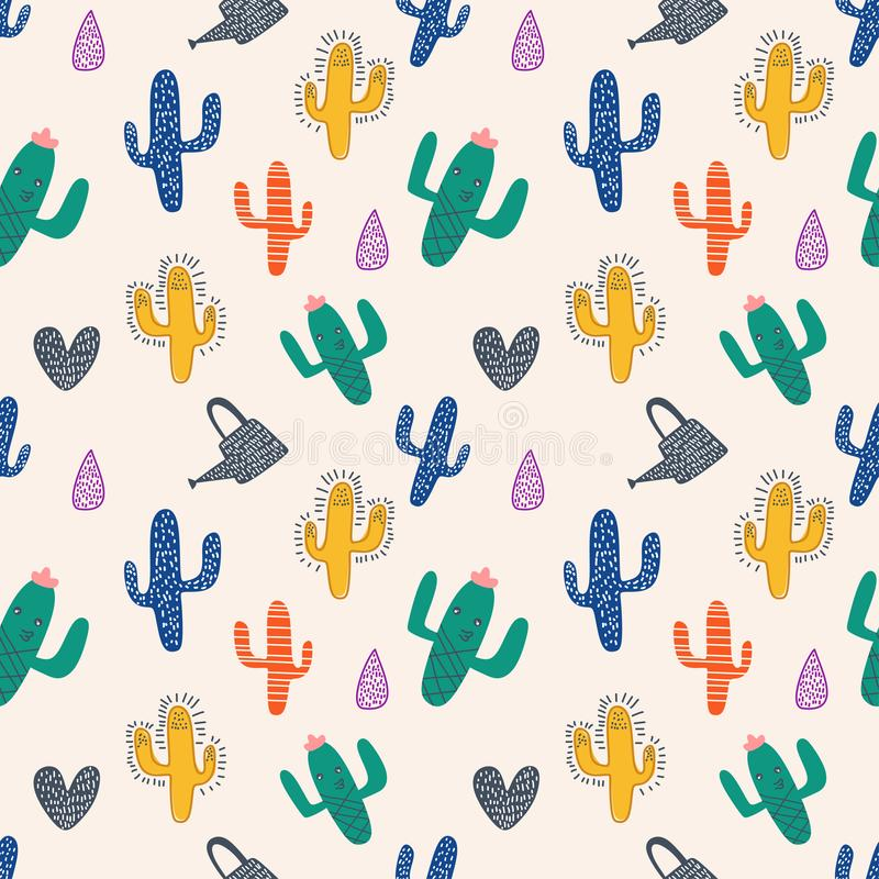 Cactus seamless pattern with cute colorful scandinavian drawing. Green, isolated, white, nature, object, plant, succulent, flower, floral, abstract, baby, kids vector illustration