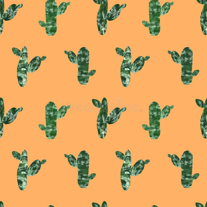 cactus seamless pattern isolated on bright orange background. hand painted cacti set in collage paper cut style. Modern botanical stock illustration