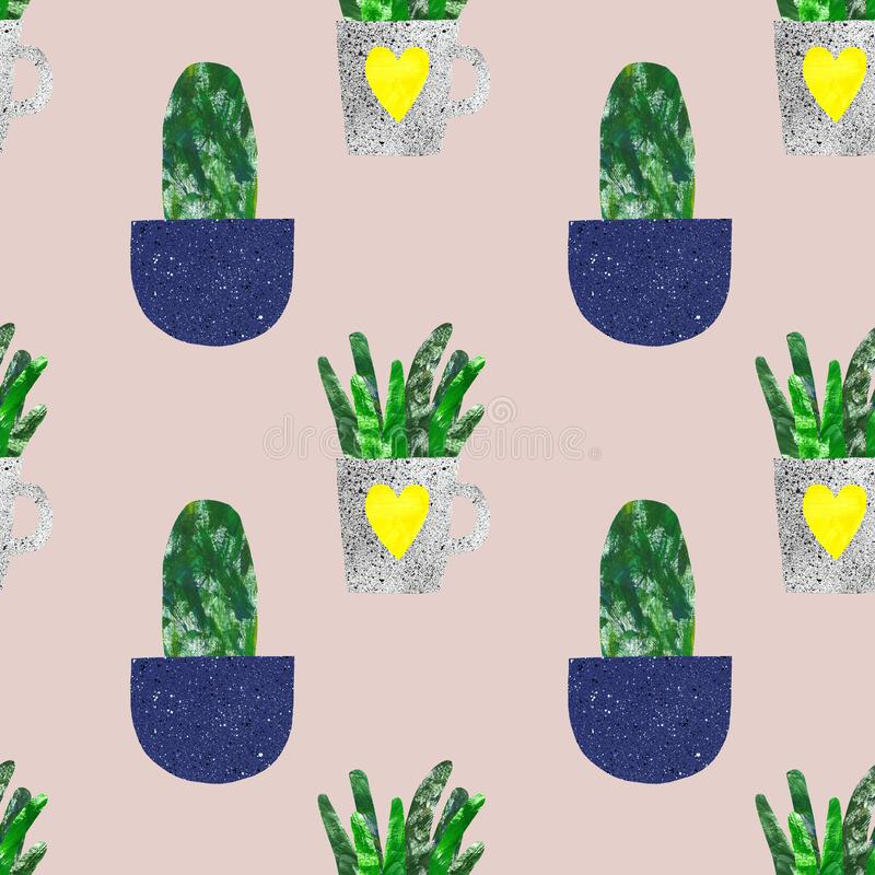 Cactus seamless pattern. Summer botanical print with cute cacti in flower pots on warm beige background. Collage hand painted vector illustration