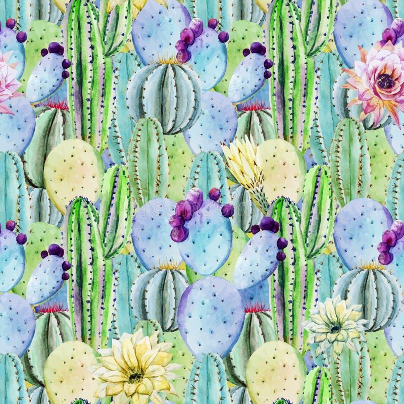 Cactus seamless patterns stock illustration