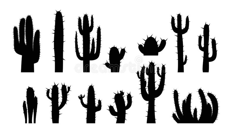 Cactus set on white. Illustration of black color cactus silhouette set isolated on white background stock illustration