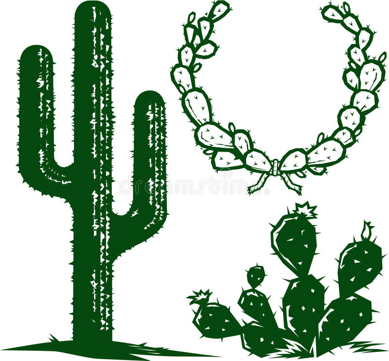 Cactus. A small collection of cactus clip art stock illustration