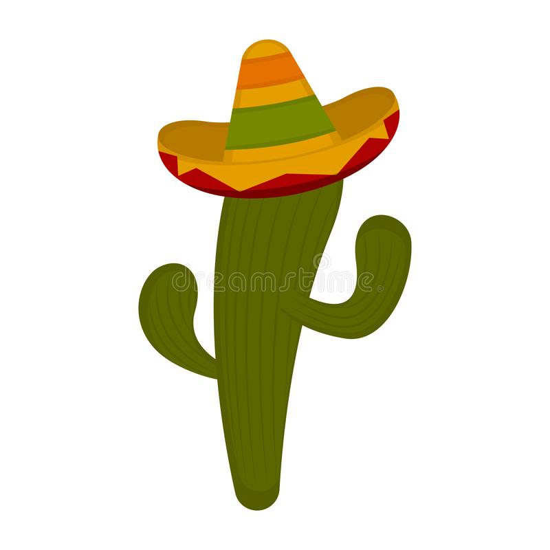 Cactus with a sombrero. On a white background - Vector royalty free illustration