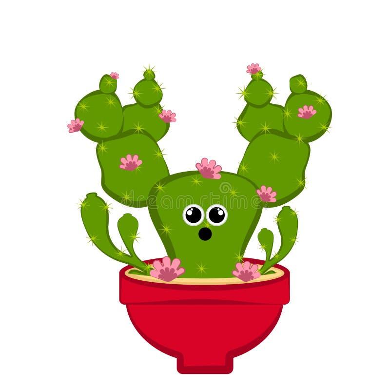 Cactus sorprendente con floers en un pote stock de ilustración