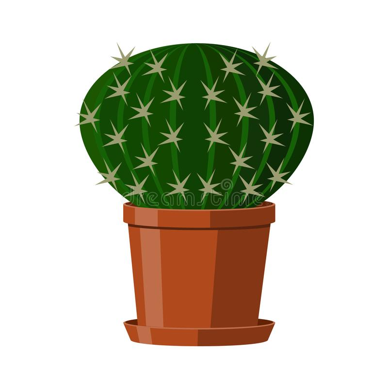 Cactus with spines in a pot. Flowering houseplant. Vector illustration isolated on white background. royalty free illustration