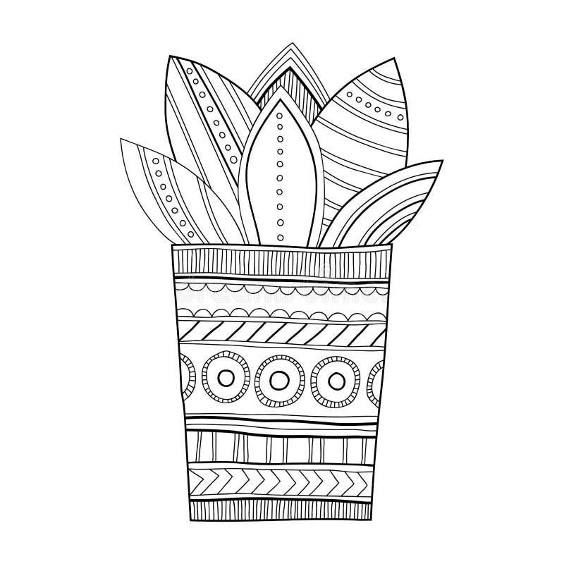 Cactus succulent illustration noire et blanche pour - Coloriage cactus ...