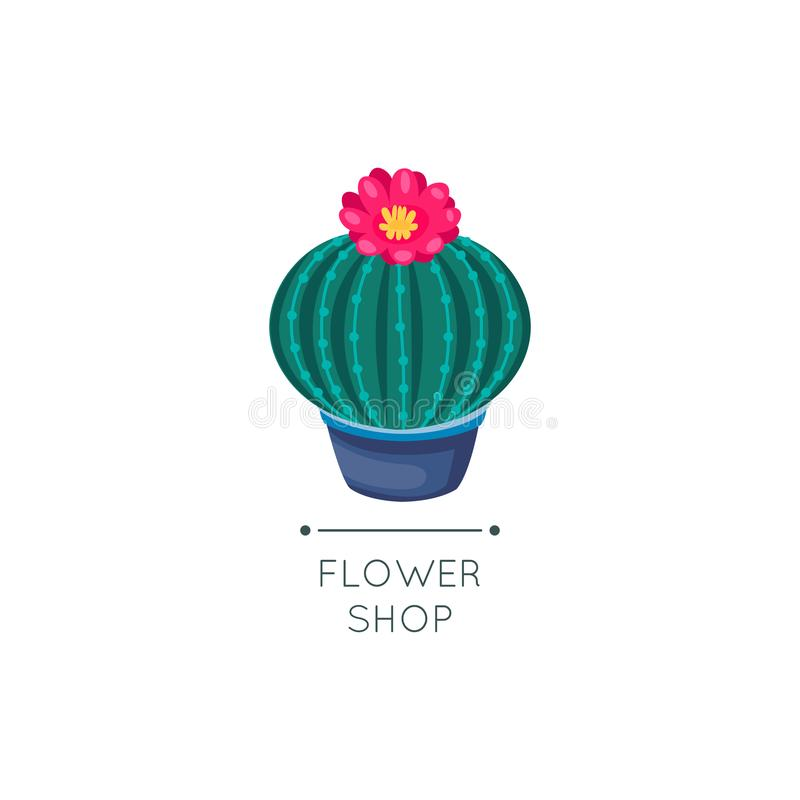 Cactus and succulent logo. Flower shop sign. Botanical design. Vector illustration, cartoon stock illustration