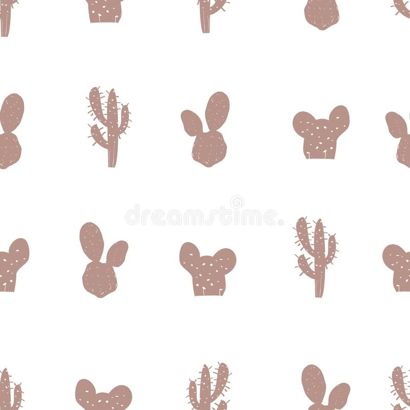 Cactus and succulents. Rose gold seamless pattern for textile design royalty free illustration