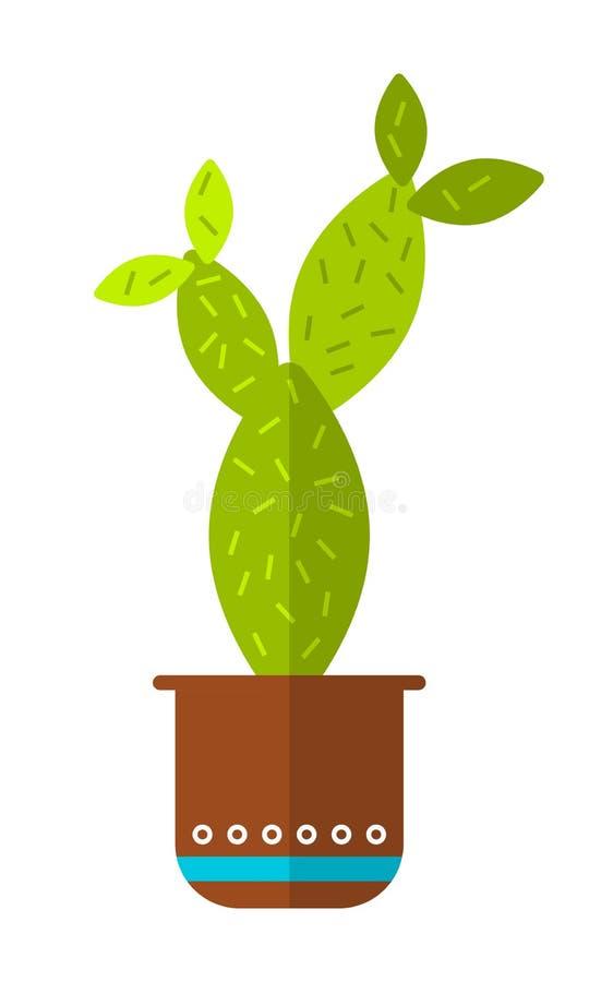 Cactus, suculento Icono plano del color, ejemplo de la planta en conserva aislado en el fondo blanco objeto ilustración del vector