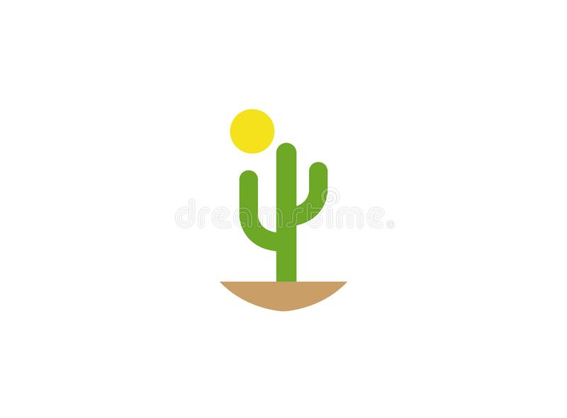 Cactus and sun in desert for logo. Esign illustration, dunes icon sahara symbol vector illustration