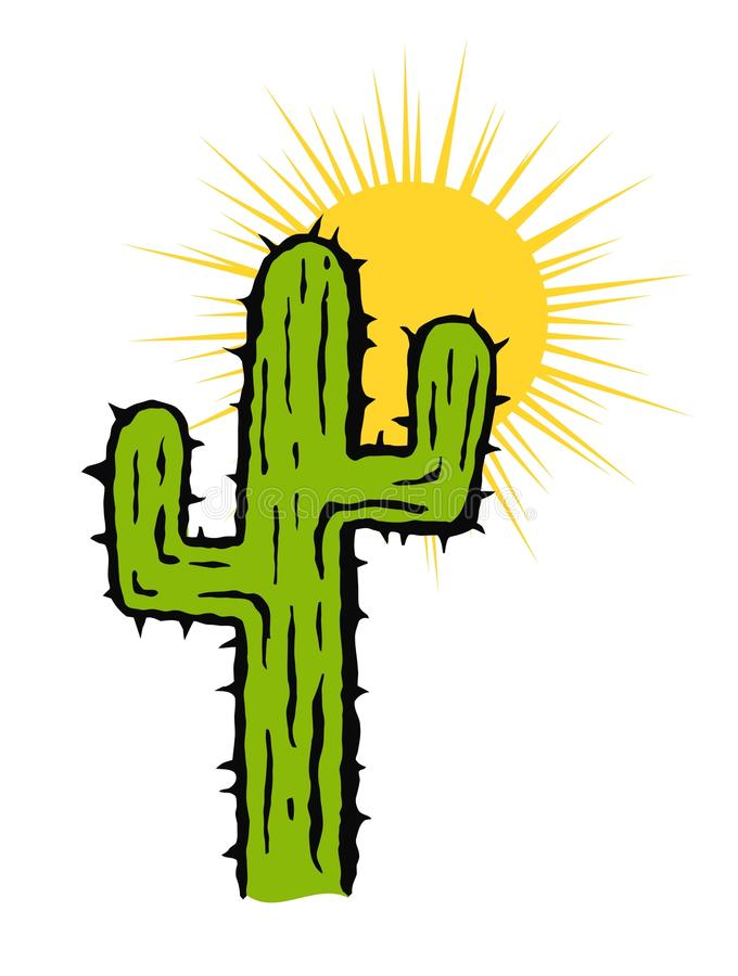 Cactus and Sun Vector Illustration stock illustration