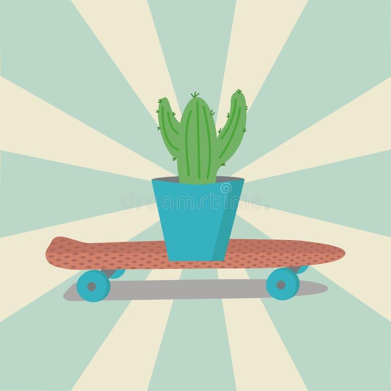Download Cactus Sur Une Planche à Roulettes Rose Illustration de Vecteur - Illustration du élément, silhouette: 76080737