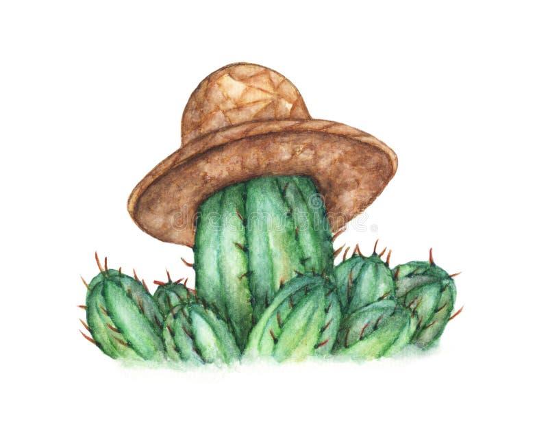 Cactus sveglio con il cappello di paglia su fondo bianco, illustrazione dell'acquerello illustrazione di stock