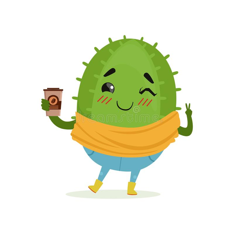 Cactus sveglio con la tazza di caffè in sua mano, illustrazione divertente di vettore del fumetto del carattere della pianta royalty illustrazione gratis