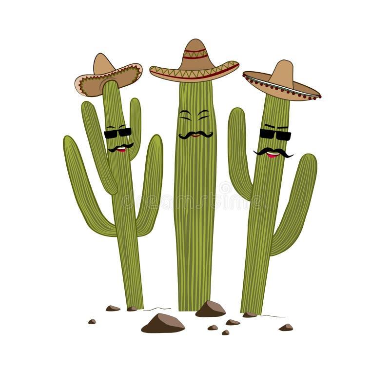 Cactus sveglio del saguaro del fumetto tre in sombrero Degli amici concetto per sempre Illustrazione di vettore royalty illustrazione gratis