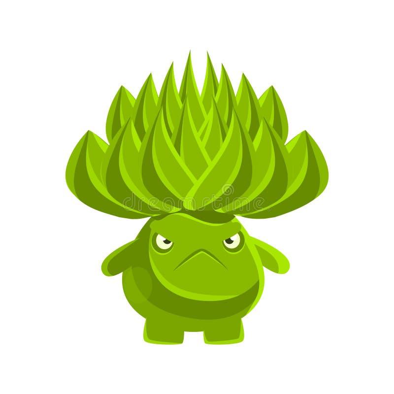 Cactus sveglio verde con il fronte triste Illustrazione di vettore del carattere di emozioni del fumetto illustrazione vettoriale