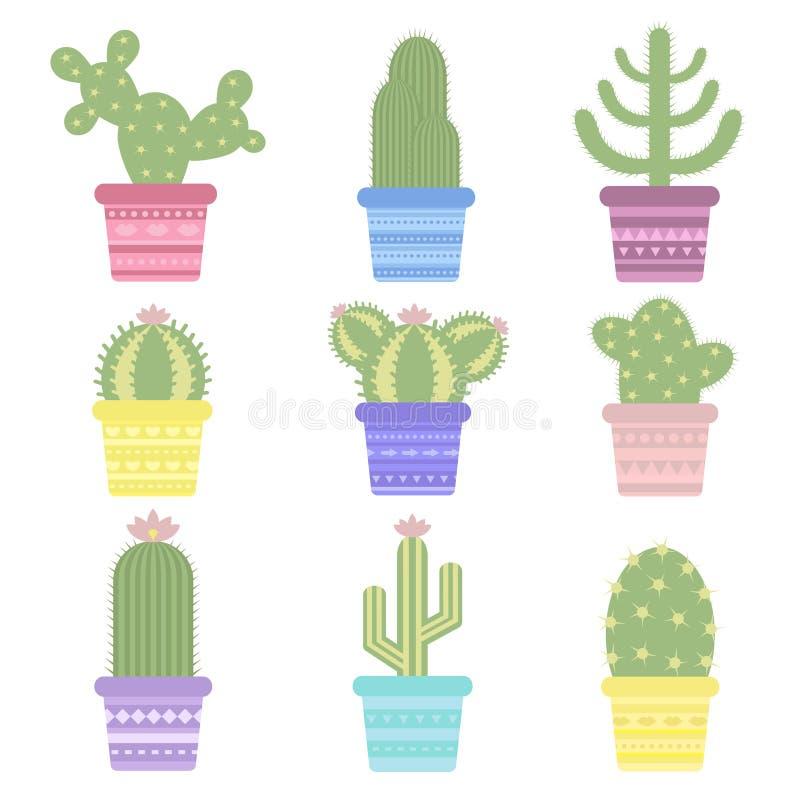 Cactus in un vaso Icona del fiore del cactus Pianta di deserto royalty illustrazione gratis