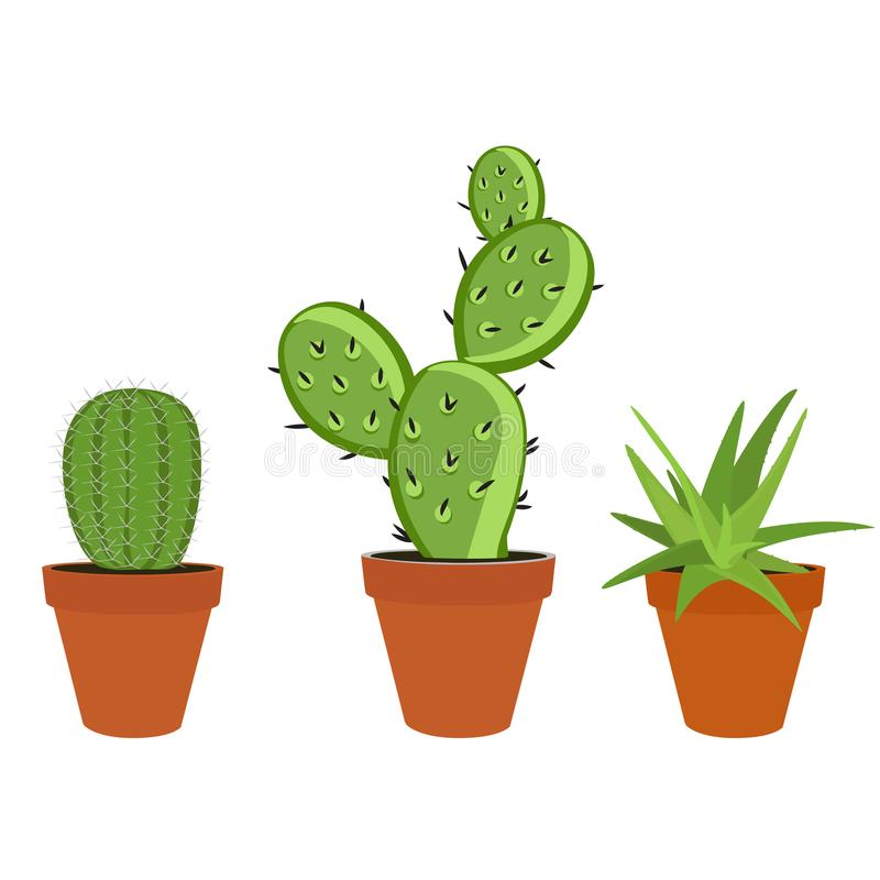 Cactus vastgesteld pictogram stock illustratie