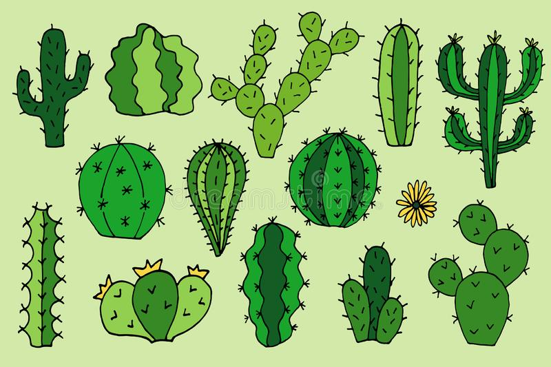 Cactus vector doodle cartoon Hand drawn illustrations royalty free stock photography