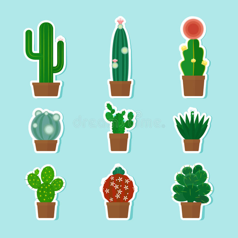 Cactus Vector Icons royalty free illustration