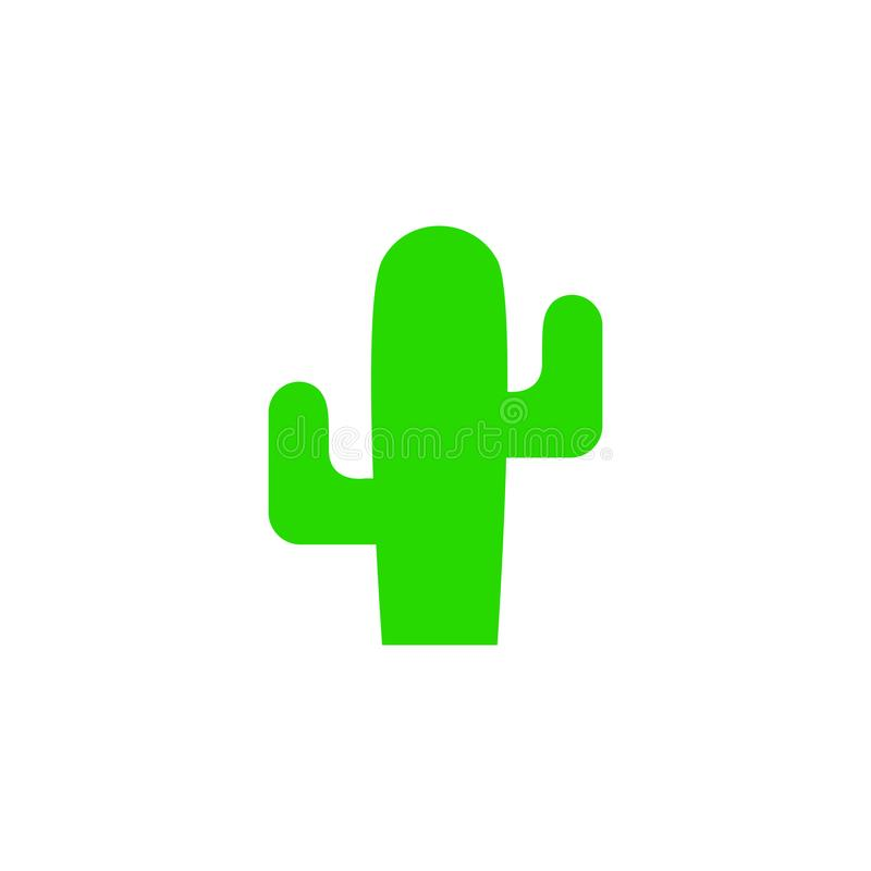 Cactus vector silhouette. Flat cactus icon. Cactus plant isolated on white royalty free illustration