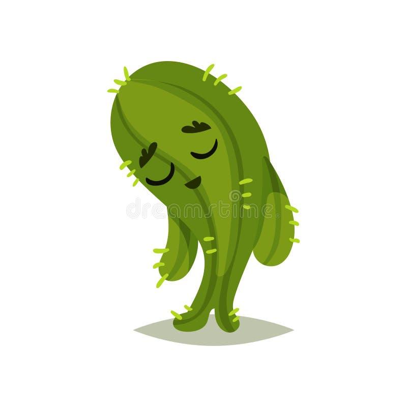 Cactus verde con l'espressione triste del fronte Pianta succulente umanizzata fumetto con le piccole spine dorsali Progettazione  illustrazione vettoriale