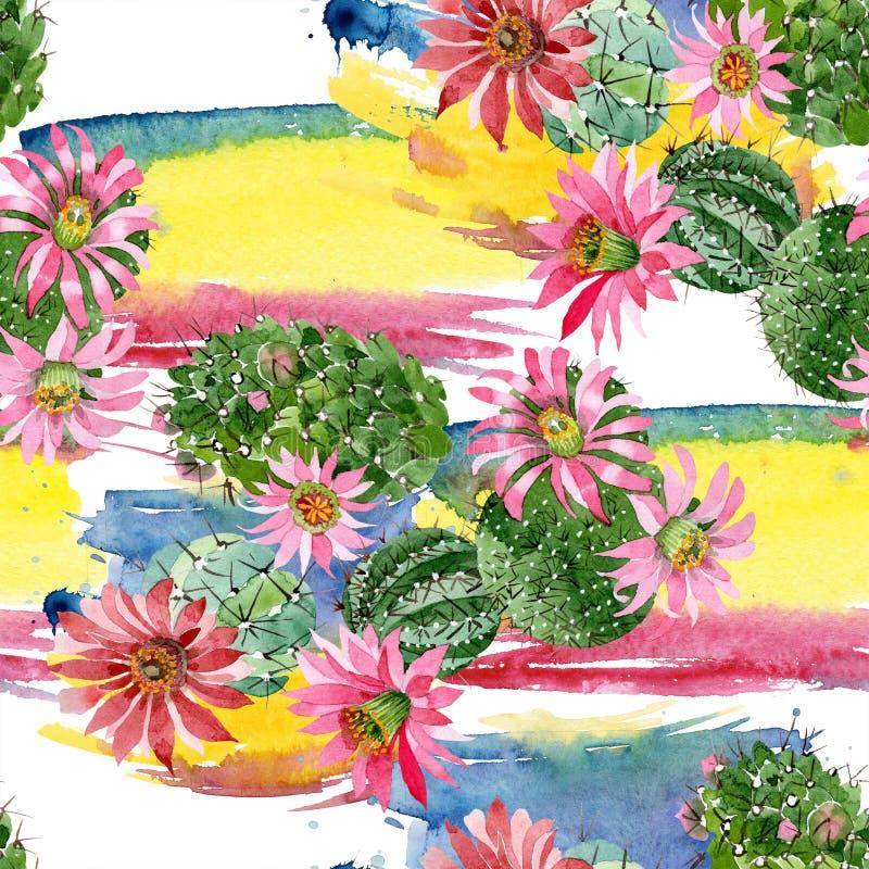 Cactus verde de la acuarela con una flor rosada Flor botánica floral Modelo inconsútil del fondo stock de ilustración