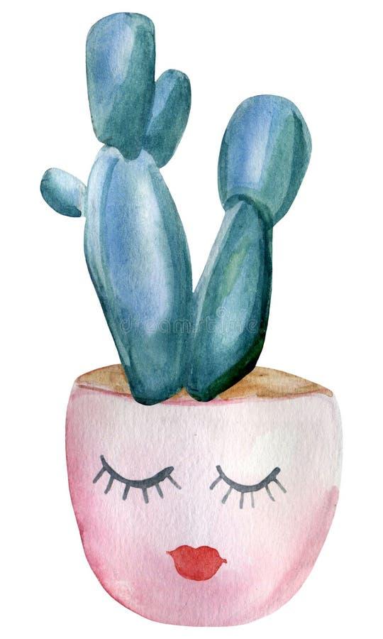 Cactus verniciato a mano in vaso di fiori rosa decorato con un viso allegro Elemento isolato sullo sfondo bianco royalty illustrazione gratis