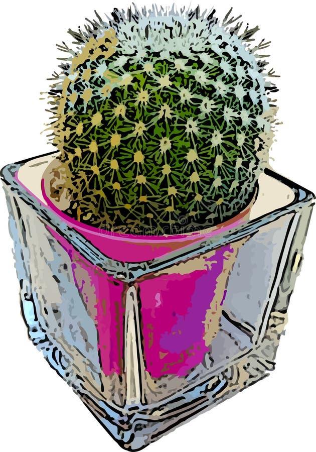 Cactus vert mis en pot d'une tige simple illustration de vecteur