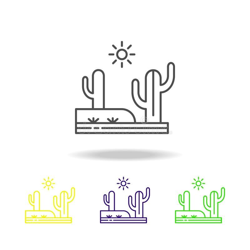 Cactus, woestijn, heet, zonnig gekleurd pictogram Kan voor Web, embleem, mobiele toepassing, UI, UX worden gebruikt stock illustratie