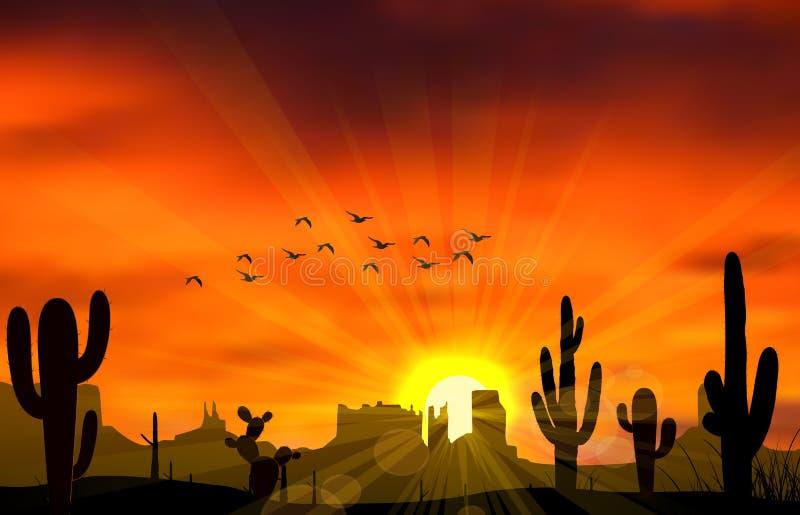 Cactusboom wanneer de zonsondergang vector illustratie